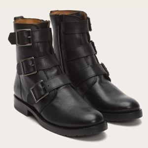 Natalie Triple Buckle Black Boots